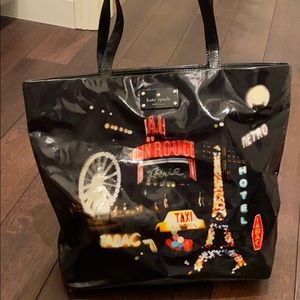 Black patent leather Kate spade tote